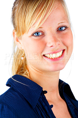 Buy stock photo Isolated portrait of a beautiful blonde-haired, blue-eyed model taken in our studio