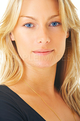 Buy stock photo Isolated portrait of a beautiful blond-haired, blue-eyed model taken in our studio