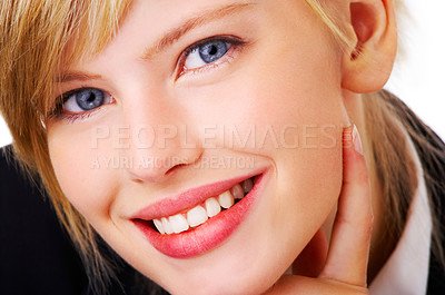 Buy stock photo Portrait of a cute business woman taken close up. This isolate is taken in our studio.