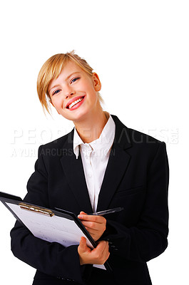 Buy stock photo Portrait of a friendly and beautiful business woman standing with her paperwork. This isolate is taken in our studio.
