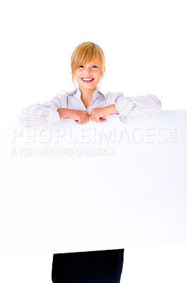 Buy stock photo Standing over or untop of sign - Female holding sign or board