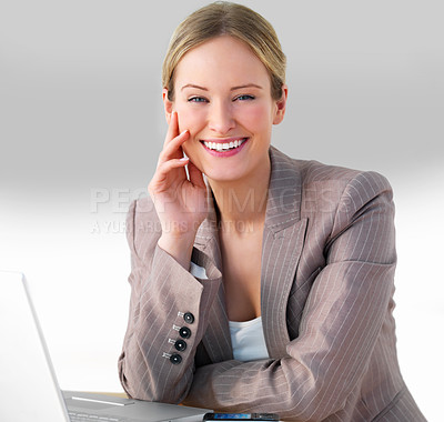 Buy stock photo Close-up portrait of a young beautiful business woman working on computer