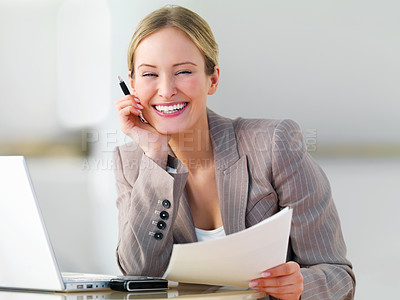 Buy stock photo Portrait of a young beautiful business woman smiling