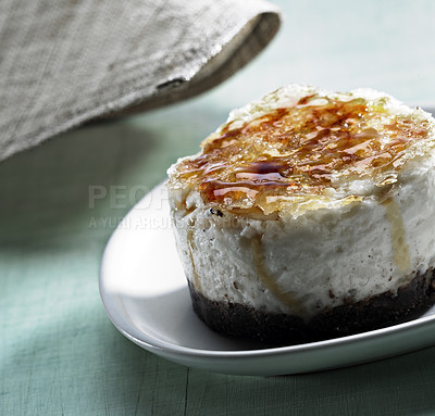 Buy stock photo Creme brulee - Gourmet dessert with roosted sugar on the top