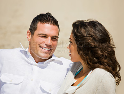 Buy stock photo Close up of a smiling young couple at beach