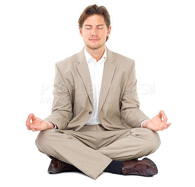 Buy stock photo Businessman with eyes closed sitting in lotus position