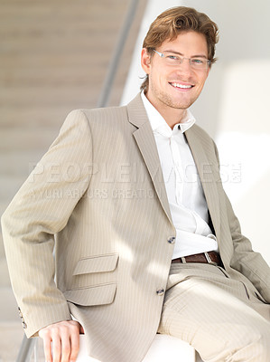 Buy stock photo Portrait of a cheerful young businessman