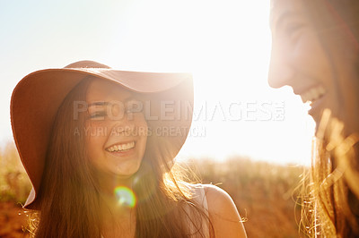 Buy stock photo Two pretty teenaagers enjoying their Summer vacation