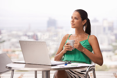 Buy stock photo A young woman looking off into the distance
