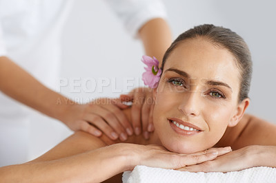 Buy stock photo Portrait of a gorgeous young woman enjoying a massage