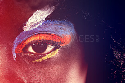 Buy stock photo Close-up of a woman's with makeup creatively applied