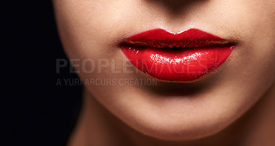 Buy stock photo Cropped beauty portrait of a young woman's lips