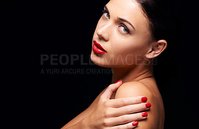 Buy stock photo A young woman with red lips and nails