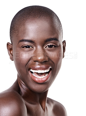 Buy stock photo Studio portrait of a beautiful young african woman isolated on white