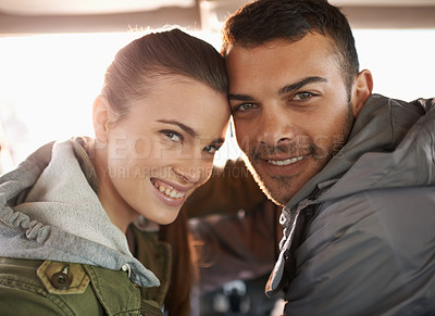 Buy stock photo Portrait of a young couple on a roadtrip