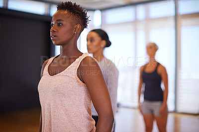 Buy stock photo Shot of a group of women in a dance studio