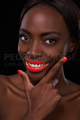 Buy stock photo Cropped view of an attractive african woman with bright red lips