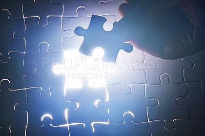Buy stock photo Cropped shot of a puzzle missing a single piece