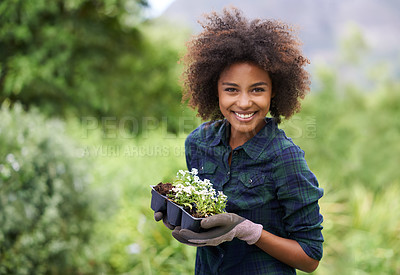 Buy stock photo Portrait of a happy young woman holding a tray of seedlings for the garden