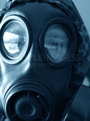 Buy stock photo A gas mask up close