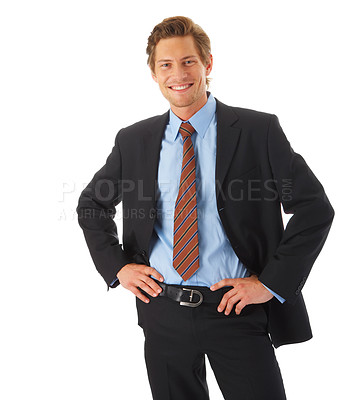 Buy stock photo Portrait of a young businessman standing comfortably.