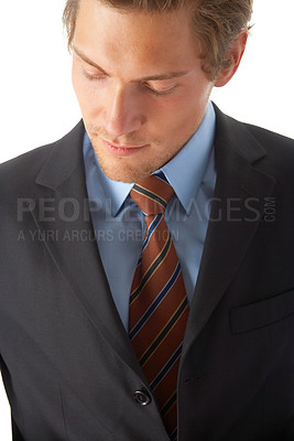 Buy stock photo Portrait of a happy young business man isolated on white