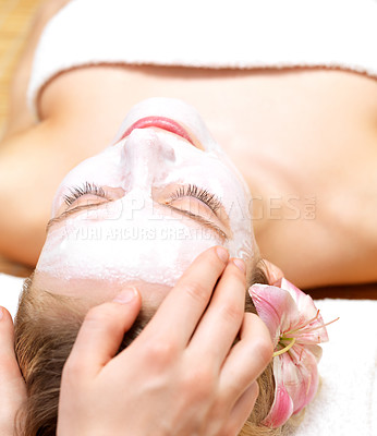 Buy stock photo Girl getting a head massage at the day spa