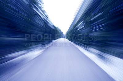 """Buy stock photo Blurred street picture.  This picture has """"zoon blur"""" which is made by zooming in on the subject while the shutter is still open. This makes an out-of-focus effect that illustrates speed and running."""