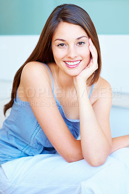 Buy stock photo Portrait of an attractive young girl smiling with hand on chin