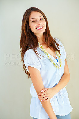 Buy stock photo Portrait of cute young woman smiling