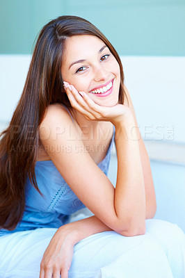 Buy stock photo Portrait of young woman giving you cute smile