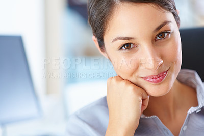 Buy stock photo Closeup of young female executive giving you cute smile