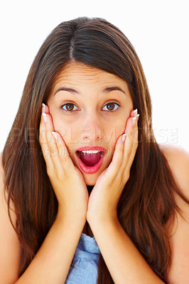 Buy stock photo Closeup of surprised young woman with hands on face