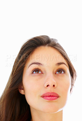 Buy stock photo Closeup of cute young woman looking up against white background