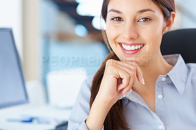 Buy stock photo Closeup of pretty business woman sitting on chair and smiling