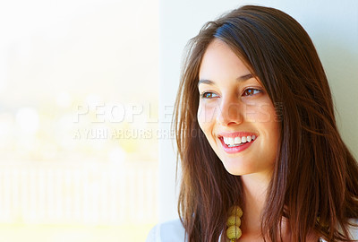 Buy stock photo Closeup of beautiful young girl smiling and looking at copyspace