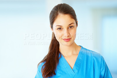 Buy stock photo Portrait of beautiful young woman looking confident - copyspace