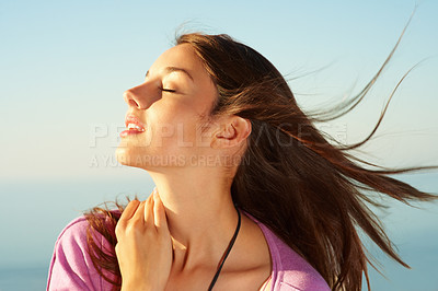 Buy stock photo Closeup of beautiful young woman enjoying natural environment