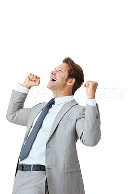 Buy stock photo Portrait of a energetic young businessman enjoying success against white - Isolated