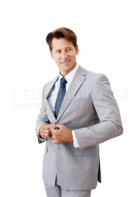 Buy stock photo Portrait of a happy young businessman looking away isolated against white background