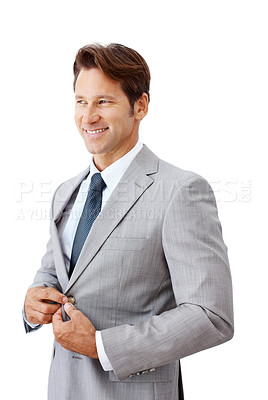 Buy stock photo Portrait of a handsome young businessman fixing button of his suit and looking away