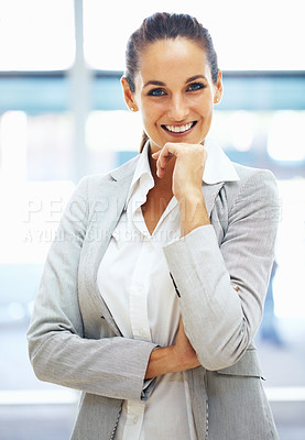 Buy stock photo Portrait of woman with hand on chin and smiling