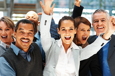 Buy stock photo Closeup of group of executives throwing arms up in excitement