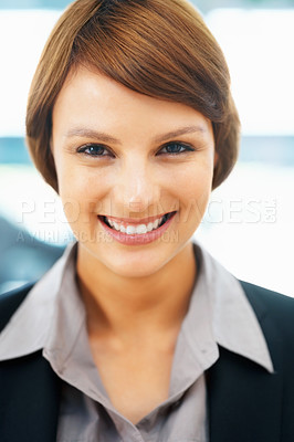 Buy stock photo Closeup view of pretty female executive smiling
