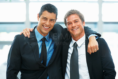 Buy stock photo Businessmen with arms around each other