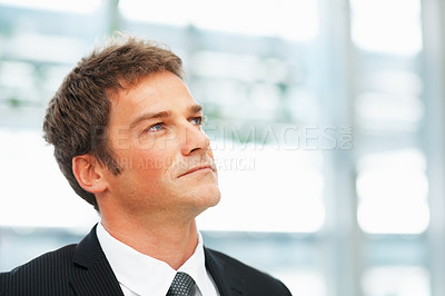 Buy stock photo Thoughtful business man looking into distance