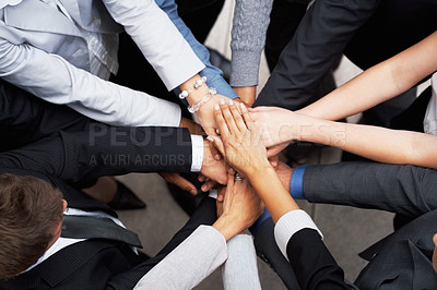 Buy stock photo Closeup of pile of hands of business partners