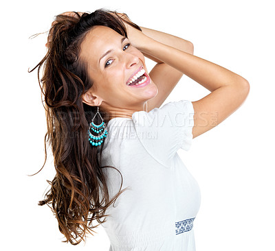 Buy stock photo Portrait of an attractive young woman posing against white background