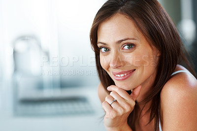 Buy stock photo Closeup portrait of an attractive young woman looking happy - Copyspace