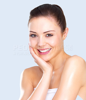 Buy stock photo Cute woman with copyspace - Close up portrait of a beautiful female model. Happiness and fun